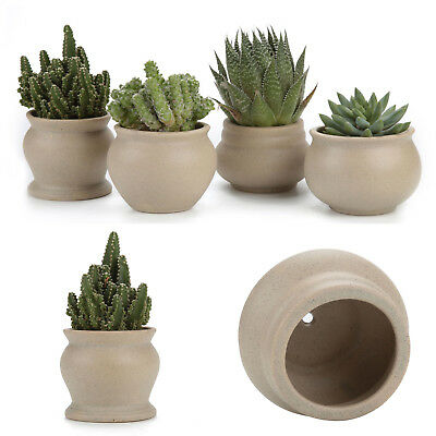 4Pcs 3.5 Inch ceramic plant pots planters pottery clay bonsai pots desktop decor