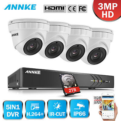 ANNKE 3MP Video 4CH DVR 4 Outdoor Metal Dome HD Security System Smart Search 2TB