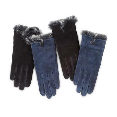 Isotoner Ladies Luxury Suede Gloves with Faux Fur Spill