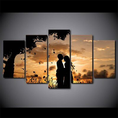 Romantic Love Couple Sunset 5 Pieces canvas Wall Art Picture Home Decor