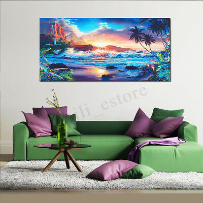 Home Decor Canvas Print Painting Wall Art Modern Sunset Scenery Beach Tree Gift