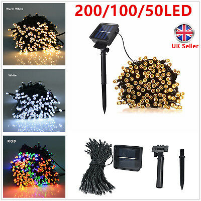 50 100 200 LED Solar Fairy Lights Strip String Outdoor Garden Light Party  Xmas