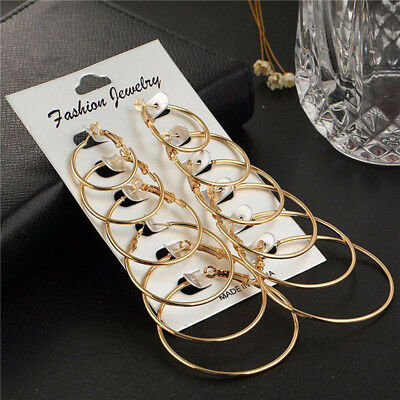 6Pairs/Set Women Gold Silver Metal Big Circle Large Ring Hoop Earrings Jewelry