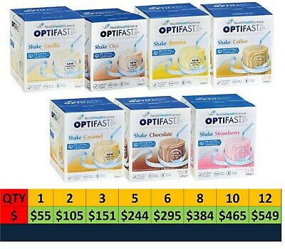 OPTIFAST VLCD SHAKE SACHETS 53G x 12 PK CHOOSE FLAVOUR, QUANTITY