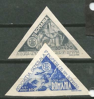 ROMANIA Scott # CB2-3 MLH 1943 Congreso engineers