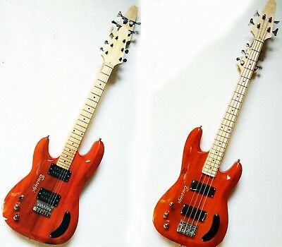 4 String  Bass + 6 String Lead 2 sides, Double Neck Busuyi Guitar Orange (Left)