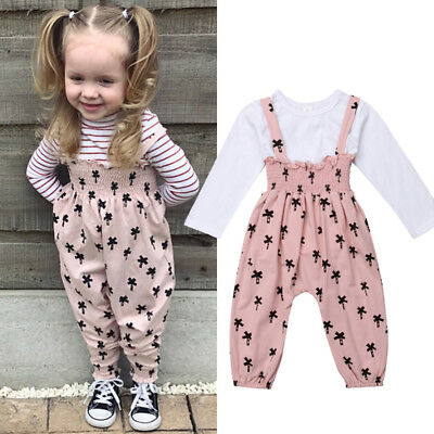 UK 2PCS Toddler Kids Baby Girls Winter Clothes Tops+Pants Overall Outfits Set