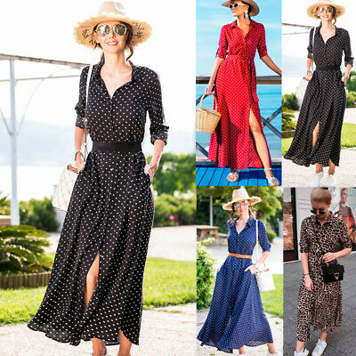 c023bf4db Womens Holiday Boho Polka Dot V Neck Lady Party Cocktail Split Maxi Shirt  Dress