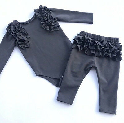 UK Newborn Infant Baby Girl Ruffle Clothes Romper Bodysuit Pants Shorts Outfits