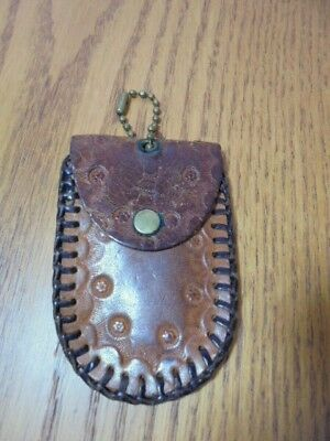 Vtg Hand Crafted Tooled Leather Key Chain Coin Purse Brown