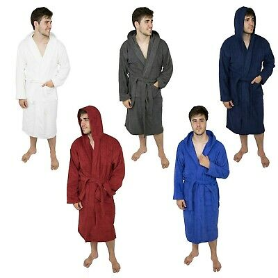 Mens 100% Terry Cotton Toweling Hooded Bathrobe Dressing Gown Robe bc1ee0fa6