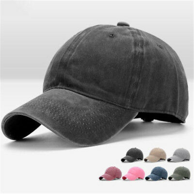 Men Plain Washed Cap Style Cotton Adjustable Baseball Cap Blank Solid Hat Daily
