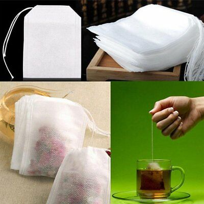 100Pcs Empty Teabags String Heat Seal Filter Paper Herb Loose Tea Bag White