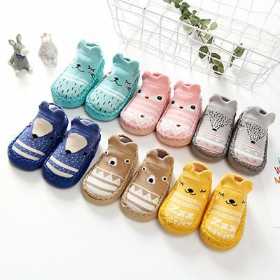 Newborn Baby Girl Boy Anti-slip Cartoon Socks Floor Slipper Shoes Boots Socks