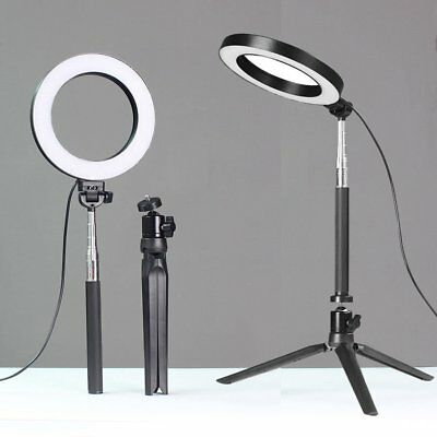 LED Ring Light Camera Photo Studio Shooting Dimmable w/Tripod Selfie Stick Stand
