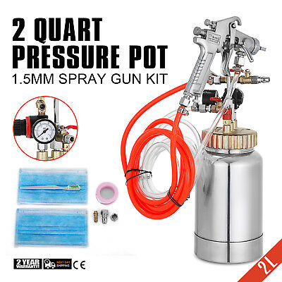 2L/2 Quart Pressure Pot with Spray Gun Hose Paint House Painting Air Tools Set