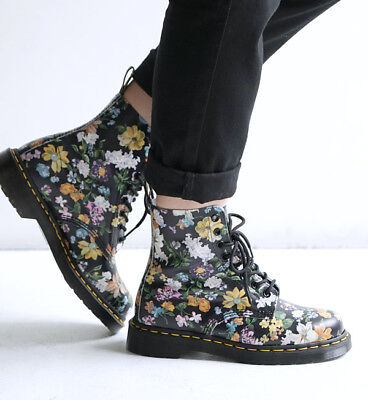 NEW Womens DR DOC MARTENS 1460 PASCAL DARCY FLORAL 8-EYE LEATHER BOOTS US 8 fcfa59b20