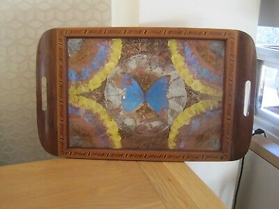 Vintage Wooden Inlaid Iridescent Butterfly Wing Serving Tray Rio Branco Brazil
