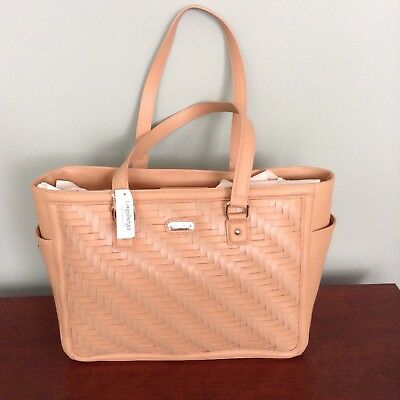 Longaberger Woven Leather Stairstep Weave Large Tote - Caramel Nwt Ret $269.00