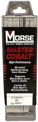 "MORSE Master Cobalt Reciprocating Saw Blades 6"" x 1"" x .042  18 TPI  (25 Pack)"