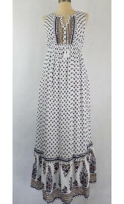 Old Navy Maternity Floral Maxi Dress M boho Floral Paisley Ethnic White Cotton