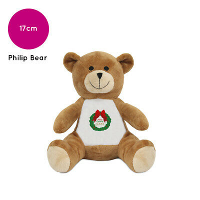 Personalised Name Christmas Wreath Philip Teddy Bear Stocking Fillers for Kids