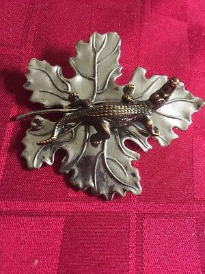 Sylvia Dahl Signed Maple Leaf With Alligator Scarf Clip On Brooch