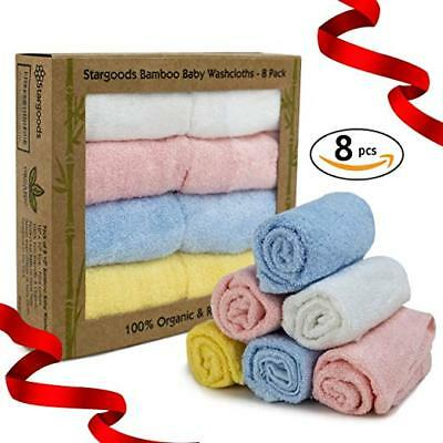 Bamboo Baby Washcloths Face and Bath Soft Absorbent Organic Baby Towels Set of 8