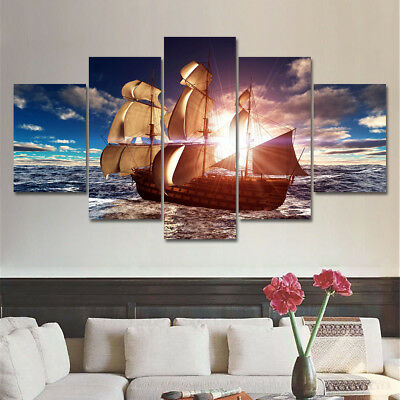Sea Boat Sunset Ocean Seascape 5 Pieces canvas Wall Art Picture Home Decor
