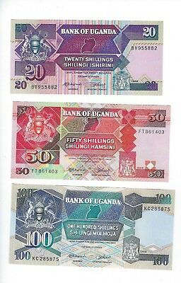 Uganda  1988 Complete Year Set  20,50,  And 100  Shillings  Set  Nice Unc
