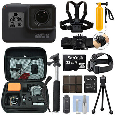 GoPro HERO7 Black 12 MP Waterproof 4K Camera Camcorder + 32GB Action Bundle