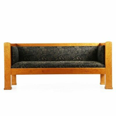 Biedermeier Style Antique Sofa Settee Canapé in Black Upholstery, 19th Century