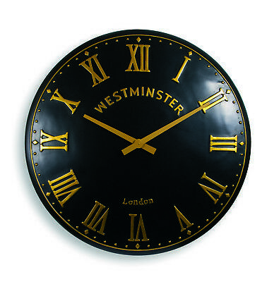 Outdoor indoor black Garden Wall Clock  Hand Painted church clock 23 inch