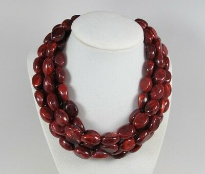 Chunky garnet red ruby statement necklace,multi strand statement ruby necklace,