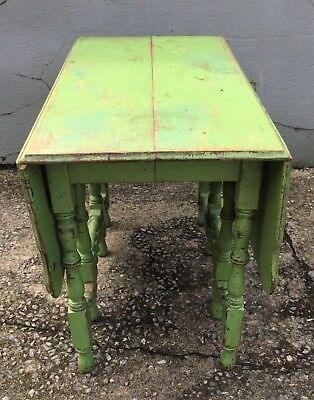Antique Drop Leaf Table >> Vintage Antique Drop Leaf Table Dining Side Wooden Green Distressed