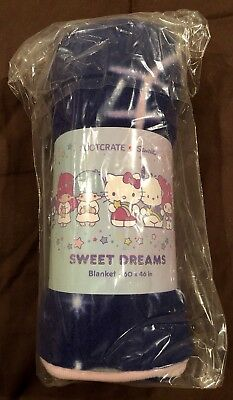 New Sanrio Loot Crate Sweet Dreams Collection Fleece Blanket ~ Hello Kitty & Pal