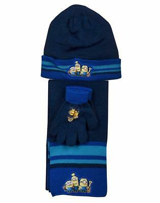 Boys Official Despicable Me Minions Hat Gloves and Scarf Set 3 PCs Set Age 3-7Yr