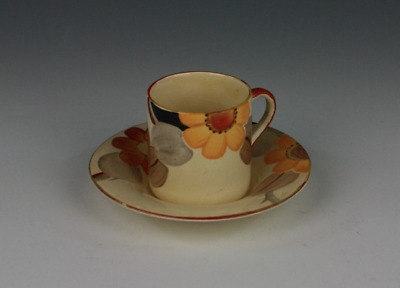 Susie Cooper Floral pattern, Coffee Can & Saucer; c. 1930's