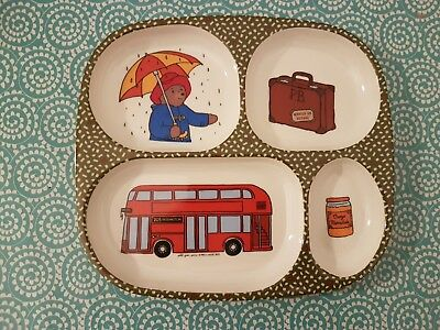 Adorable Assiette Melamine A Compartiments Pour Bebe Motif Paddington