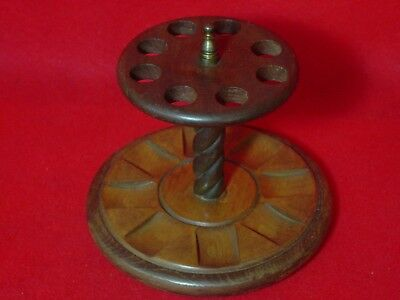 Vintage Deco Walnut Wood Smoking Pipe Stand Rack Tobacco Holder Holds 8 Pipes