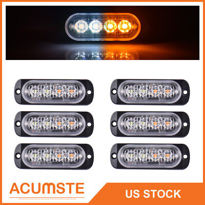 6X White+Amber Car 4LED Emergency Strobe Light Kit Bar Marker Flash Warning Lamp