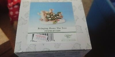 Charming Tails Bringing home the Tree Christmas Figurine by Fitz and Floyd 87/10