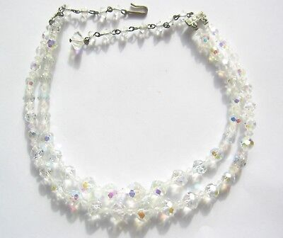 Vintage Faceted Clear Crystal Glass Bead Choker Necklace ~ Two Strand