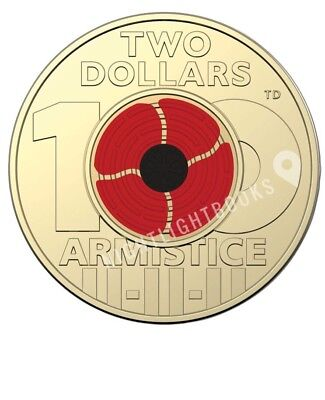 $2 2018 Armistice Remembrance Poppy Single Coin Taken From Roll