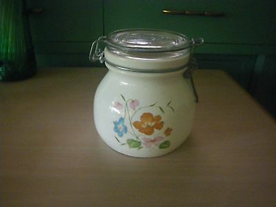 VINTAGE CERAMIC WIRE BAIL JAR & Glass LID ~ HAND PAINTED FLORAL WHITE & PASTELS