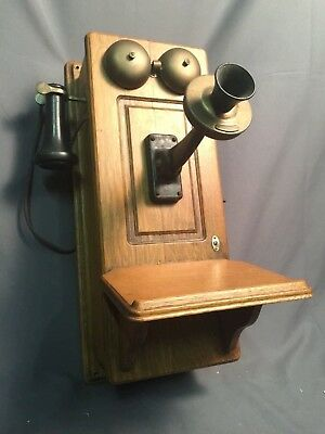 Western Electric Antique Oak Hand Crank Wood Wall Telephone Made USA Converted