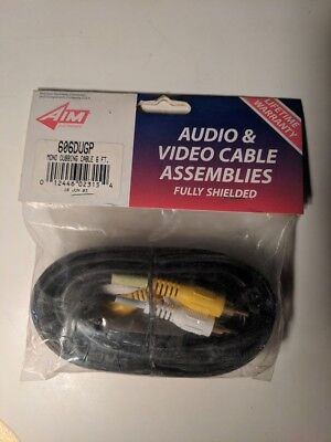 6 FT AIM Electronics 2 RCA Composite Male to Male Audio Video AV Cable VCR DVD