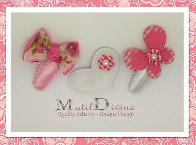 Baby Girl Toddler Non Slip Hair Clip 3cm Snap Clips Bow Set of 3 Pink Gingham