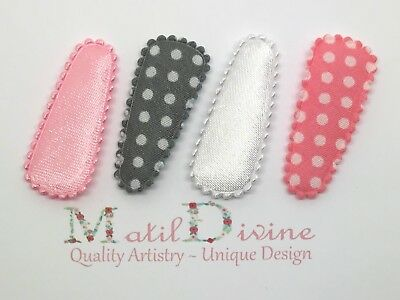 Baby Girl Toddler Non Slip Hair Clip 3cm Snap Clips Bow Set of 4 Pink Grey Spots
