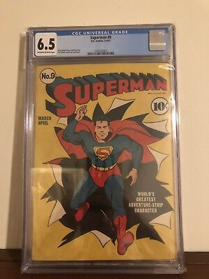 Superman #9 Classic Fred Ray Cover CGC 6.5 Universal DC Comics 1941